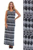 New Womens Maxi Plus Size Ladies Aztec Tribal Print Long Dress Nouvelle 14-28