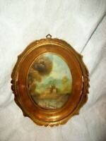 VINTAGE FRENCH CHATEAU OIL PAINTING MINIATURE FARMHOUSE CONVEX CHIPPY GILT WOOD