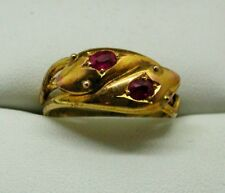 Rare Mint Unworn Edwardian Gold And Ruby Double Snake Ring Size R.1/2