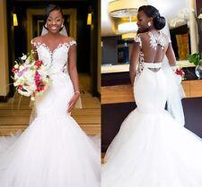 African Cap Sleeve Wedding Dresses Lace Mermaid Bridal Gowns Church Bridal Dress