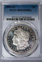 1884-CC Morgan PCGS MS63DMPL Cameo, Glassy Deep Mirror Prooflike Silver Dollar!