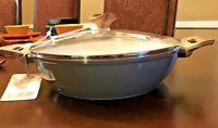 """NEW! MASTERCLASS 11"""" 3.9 qt GRAY Braiser Casserole Pan Nonstick Steam Vent lid"""