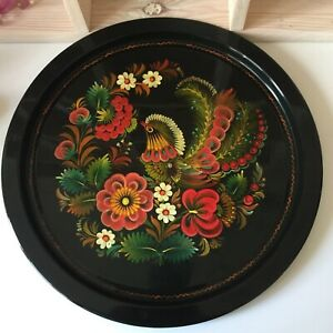 Vintage Black Tin Serving Tea Drinks Tray Floral & Bird Colourful Retro