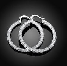 Womens Sterling Silver Medium Size Round Hoop Fashion Earrings #EA26