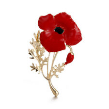 Enamel Flower Red Poppy Brooches Pin Fashion Jewelry Brooches Wedding Memory