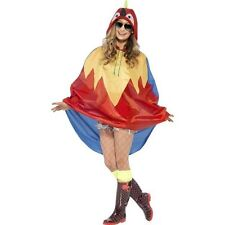 Unisex Womens Mens Parrot Party Poncho Festival Animal Waterproof Fancy Dress