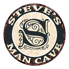 CPMC-0074 STEVE'S MAN CAVE Rustic Chic Tin Sign Man Cave Decor Gift Ideas