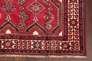 HOLIDAY DEAL Vintage Geometric Abadeh Tribal Area Rug Wool Hand-Knotted RED 5x8