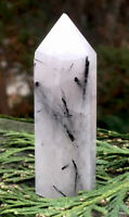 59.2g NATURAL BLACK TOURMALINATED QUARTZ CRYSTAL HEALING WAND  Reiki  S.AFRICA