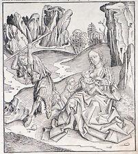 Schedel Weltchronik, Verlorene Paradies Holzschnitt Graphik 1493, Adam und Eva