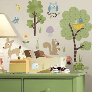 Roommates Woodland Children's Wall Stickers Removable, Owls Wall Stickers Kids