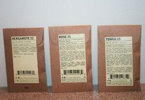 Le Labo Perfume Samples Rose 31 Bergamote 22 Tonka 25  ~ 0.75mL / 0.025 oz each