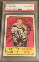 1967 1968 TOPPS  Glen Sather AUTO PSA DNA ROOKIE RC AUTOGRAPH #38 Bruins Boston