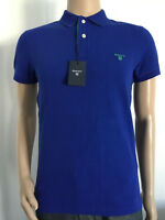 Gant Contrast Collar Pique Ss Rugger Polo Shirt New Col Ink Blue Size S 3