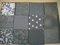 "Job Lot CREATIVE Handmade Paper Pack 12 Sheets 12x12""  NEW Black TEXTURED"