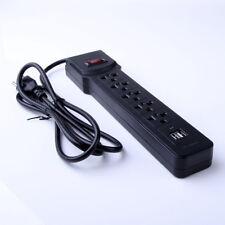 2 USB Port 5 Outlet Power Socket Surge Protector Strip Cord Lightningproof US