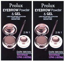 2x Prolux Waterproof EYEBROW Powder & GEL Long Lasting SMUDGE FREE Dark Brown