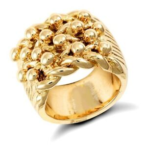 9ct Solid Gold 4 Row Keeper Ring 63 grams - UK Jewellers