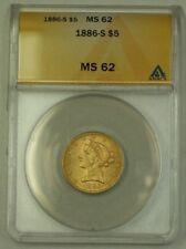 1886-S $5 Five Dollar Liberty Half Eagle Gold Coin ANACS MS-62