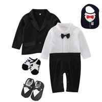 baby boy outfits & set wedding party tuxedo boys bodysuit+coat+bib+socks+shoes