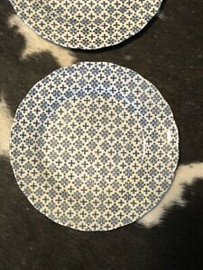 Vintage Set of 4 NIKKO Ironstone Chintz Double Phoenix Colonial Blue Plates