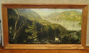 Thaddeus Welch 1902 Landscape Lithograph Sailboat Cattle Wood Frame 26.5x14.5