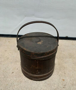 Large Shaker Swing Handle Firkin Pantry Box Original Paint W/ Metal Liner