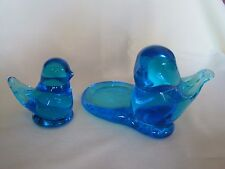 2 Blue Glass Birds *Signed W Ward* 1989 w/ label & 92 - hand blown- candleholder
