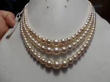 Vintage/NOS 3 strand cream pearl necklace rhinestone clasp