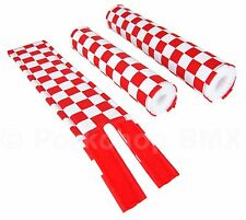 FLITE old school BMX bicycle padset foam racing pads CHECKERBOARD RED & WHITE