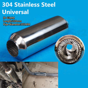 """1x Stainless Steel 2.5"""" in to 2.5"""" out Car Exhaust Pipe Tornado Muffler Silencer"""