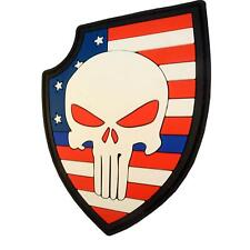 punisher skull shield american flag PVC rubber 3D police emblema fastener patch