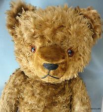 Teddy Bear Shaggy Dralon Plush Big 24in 60cm Growler Glass Eyes Germany Vintage