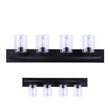 4-Light Bathroom Vanity Wall Light Bar Fixture Clear Glass Shades, Matte Black