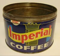 Vintage 1940s IMPERIAL COFFEE TIN CAN ONE POUND GRAPHIC SAN FRANCISCO CALIFORNIA