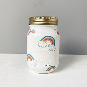 Hand decorated Decoupage Mason Money Jar/ Nursery Decor Gift Rainbows 🌈