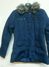 Ladies Brave Soul Navy Quilted Jacket Faux Fur Collar Trim Brave Soul Size 16