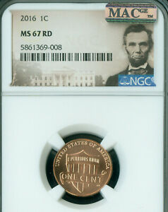 2016 LINCOLN CENT NGC MAC MS 67 RED PQ 2ND FINEST GRADE SPOTLESS  .