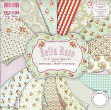 DOVECRAFT BELLA ROSE PAPERS 6 X 6 SAMPLE PACK - NEW 1 OF EACH DESIGN - 16 SHEETS