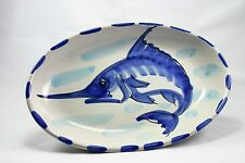 Vietri Oval Swordfish Blue and White Dish Made in Italy 10""