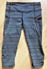 LULULEMON Run Top Speed Crop Pants size 6 Cyber Stripe Deep Coal Gray Black EUC