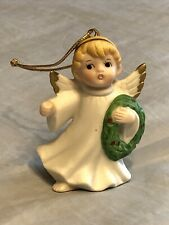 Vintage Homco Ceramic Bisque Christmas Tree Ornament Angel Figurine New Unused