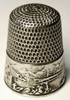 Antique Simons Brothers Sterling Silver Thimble   Landscape Gray   C1890s