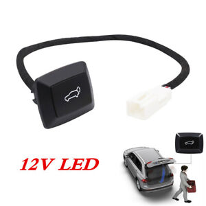 12V Car SUV Rear Trunk Tail Lamp Lock Door Open Close Switch Button LED Light
