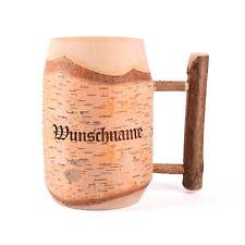 Bierkrug aus Holz graviert mit Wunschnamen