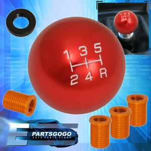 Universal 8X1.25mm 5Spd Ball Shift Shifter Knob Threaded Motor M8 M10 M12 Red