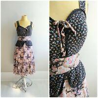 Small Vintage Prairie Dress 1970s Womens Boho Peasant Summer Gown