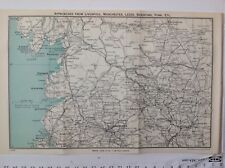 Approaches From Liverpool, Manchester, Leeds & York, C1950 Vintage Map, Original