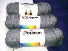 NEW Caron Simply Soft Yarn Knit Crochet (3) 5 oz Skeins Acrylic GREY HEATHER
