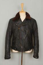 STUNNING Vtg 1930s HORSEHIDE Leather Half Belt Police Motorcycle Jacket Medium